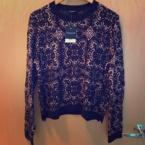Topshop Black & Pink Lace Print Sweater